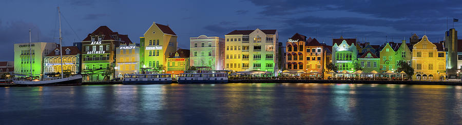 Willemstad Curacao At Night Panoramic Photograph By Adam Romanowicz