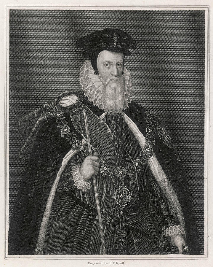 William Drawing - William Cecil Lord Burghley  Statesman by Mary Evans Picture Library