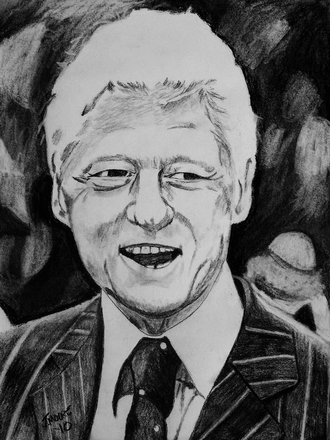 William Jefferson Clinton Drawing by Jeremy Moore