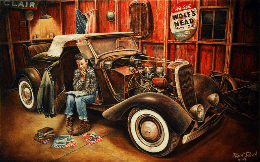 Oil Painting - Willie Gillis Builds A Custom by Ruben Duran