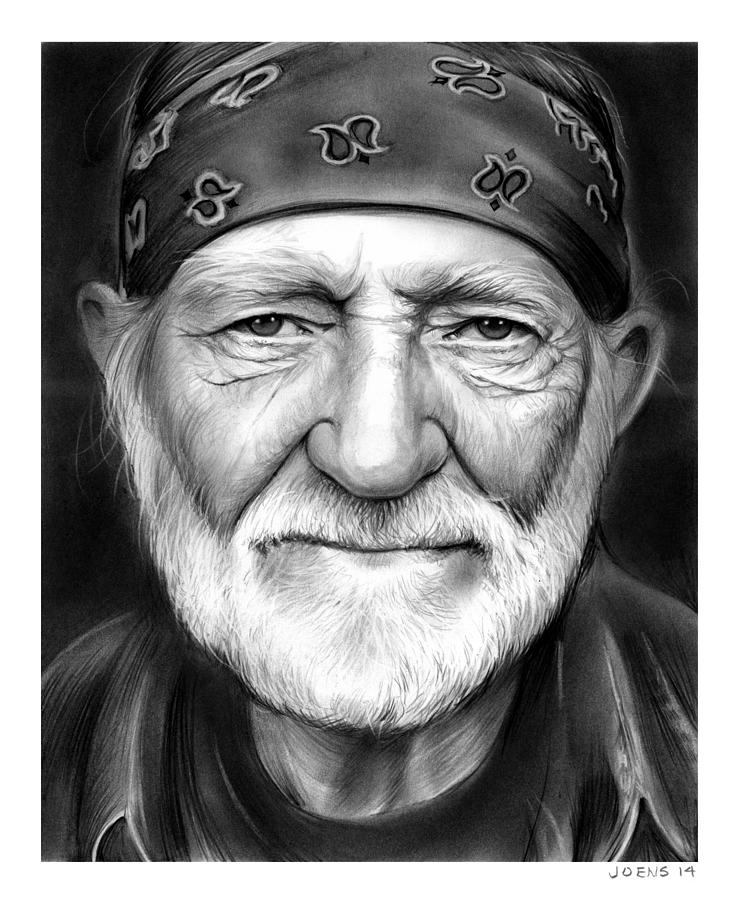 Singer Drawing - Willie Nelson by Greg Joens