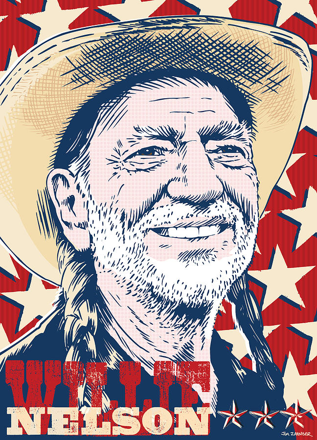 Music Digital Art - Willie Nelson Pop Art by Jim Zahniser