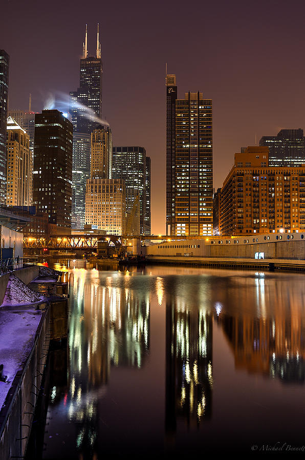 Buildings Photograph - Willis Tower Reflection In Chicago River March 2014 by Michael  Bennett