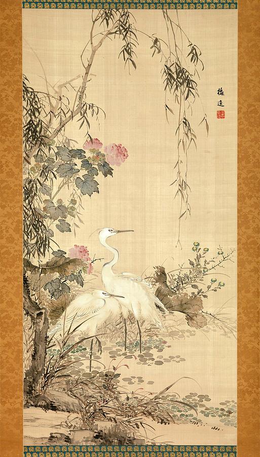 Yamamoto Baiitsu Painting - Willow And Herons by Yamamoto Baiitsu