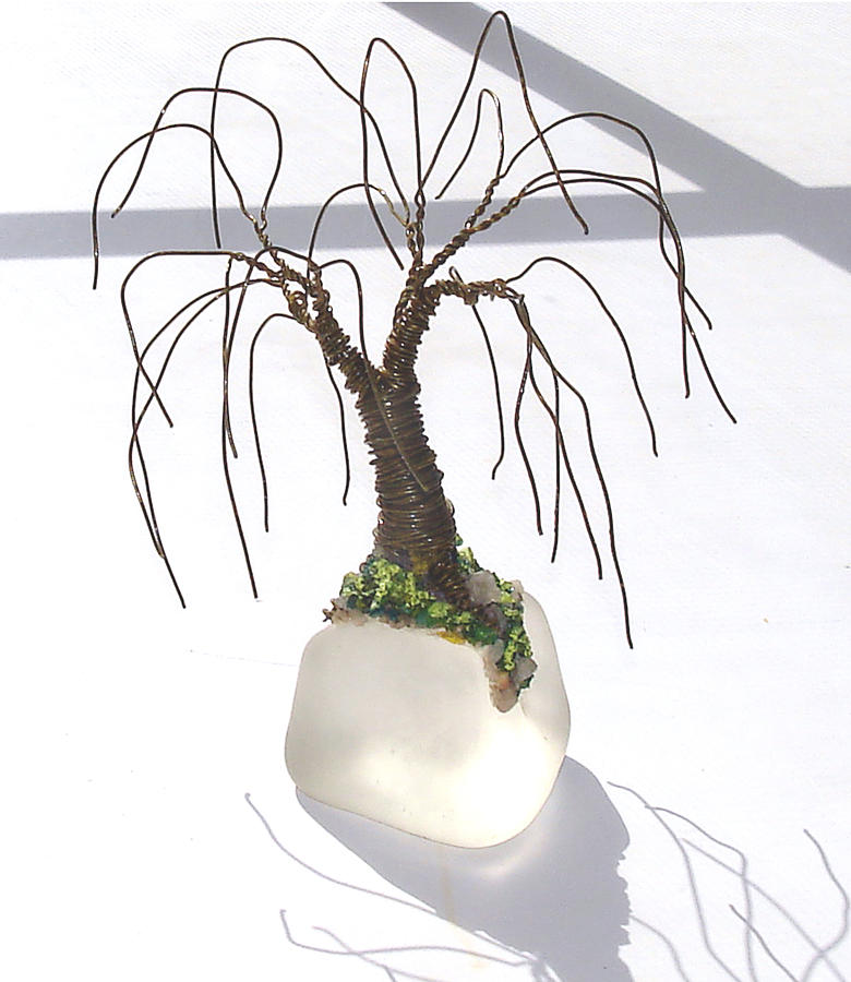 Glass Base Sculpture - Willow On Ice Mini Wire Tree Sculpture by Sal Villano