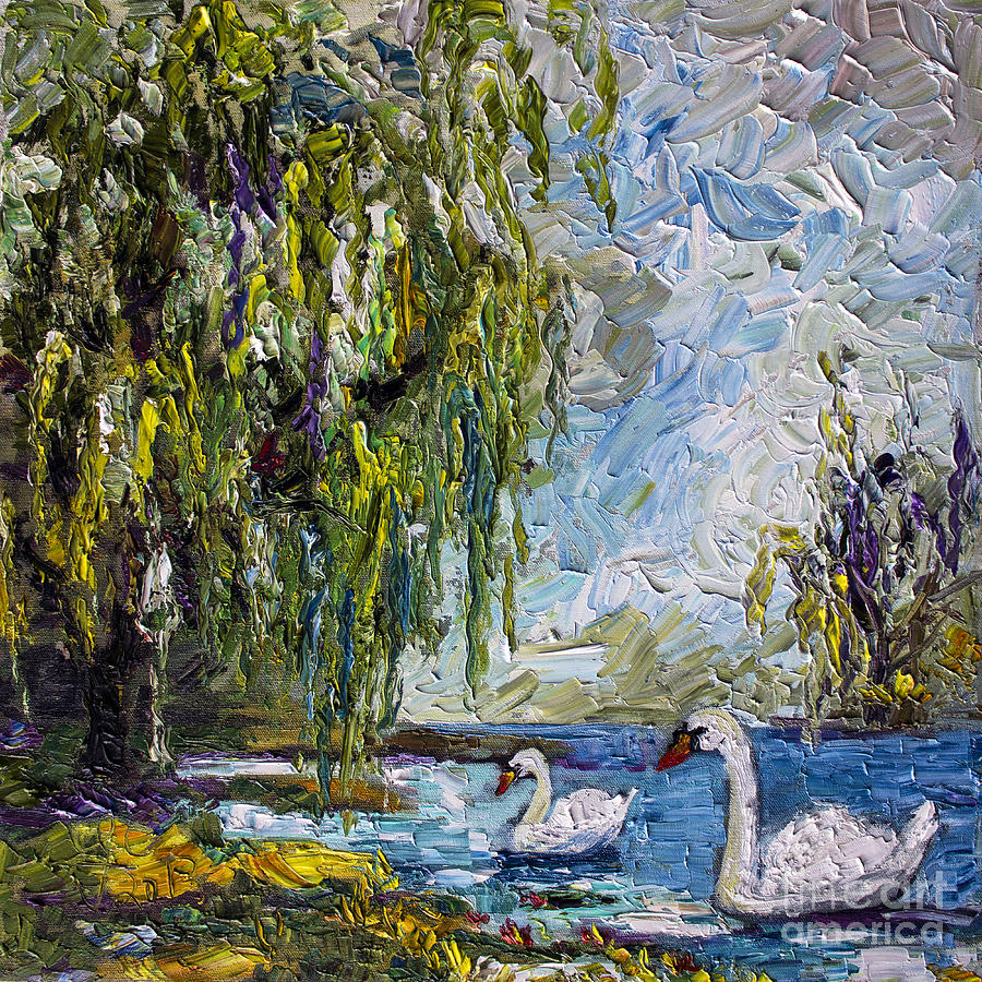 Swans Painting - Willow Tree And Swan Lake Oil Painting by Ginette Callaway
