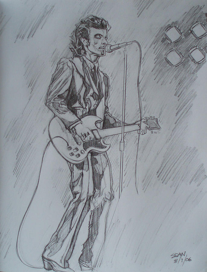Pencil Drawing - Mink Deville - Steady Drivin Man by Sean Connolly