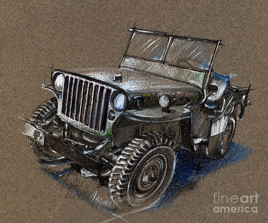 Car Drawing - Willys Car Drawing by Daliana Pacuraru