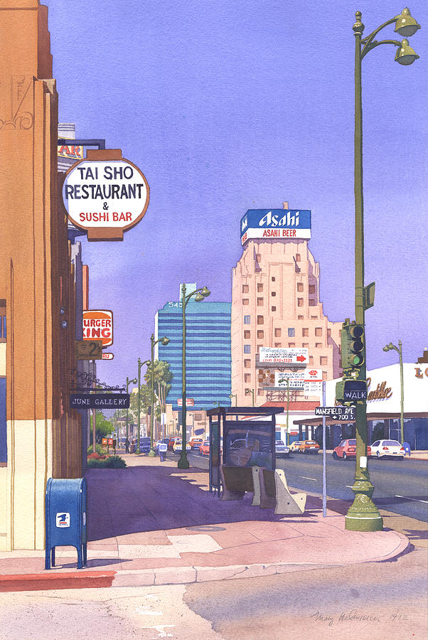 Los Angeles Painting - Wilshire Blvd at Mansfield by Mary Helmreich