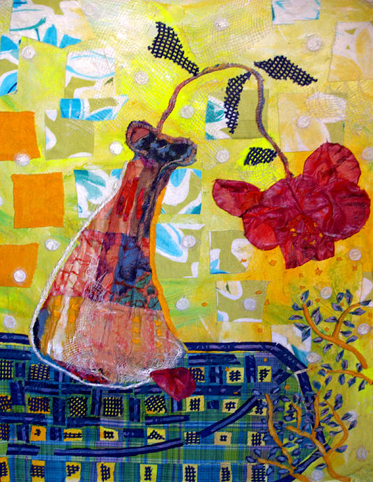 One Red Rose Mixed Media - Wilting Rose by Diane Fine