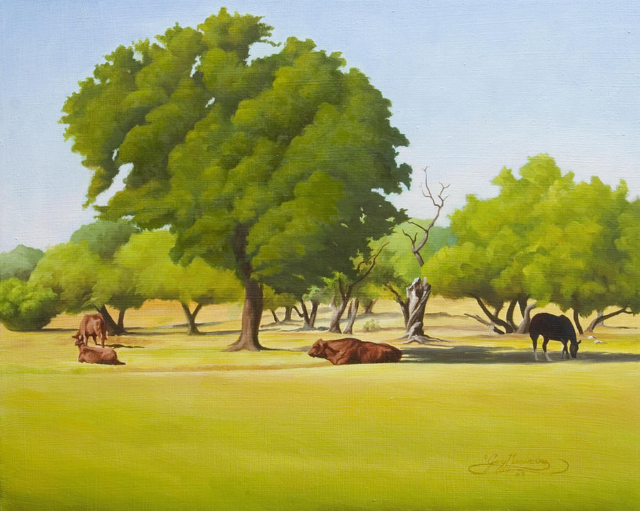Texas Landscape Painting - Wimberley Pastoral by Gary  Hernandez