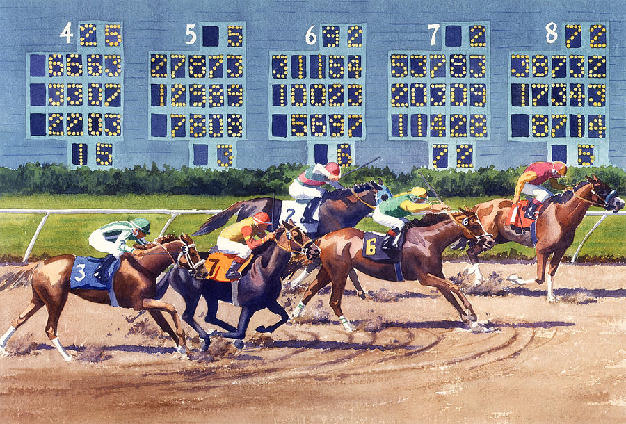 Horses Painting - Win Place Show At Del Mar by Mary Helmreich