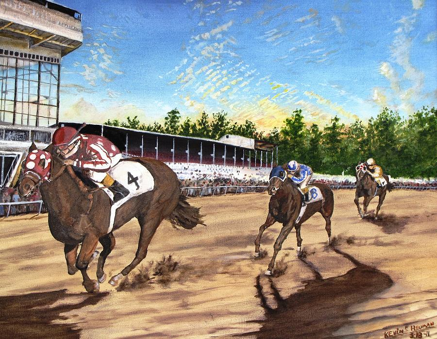 Horse Painting - Win Place Show by Kevin F Heuman