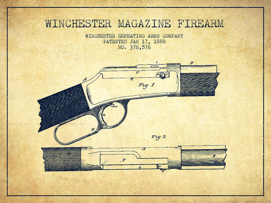 Winchester Drawing - Winchester Firearm Patent Drawing From 1888- Vintage by Aged Pixel