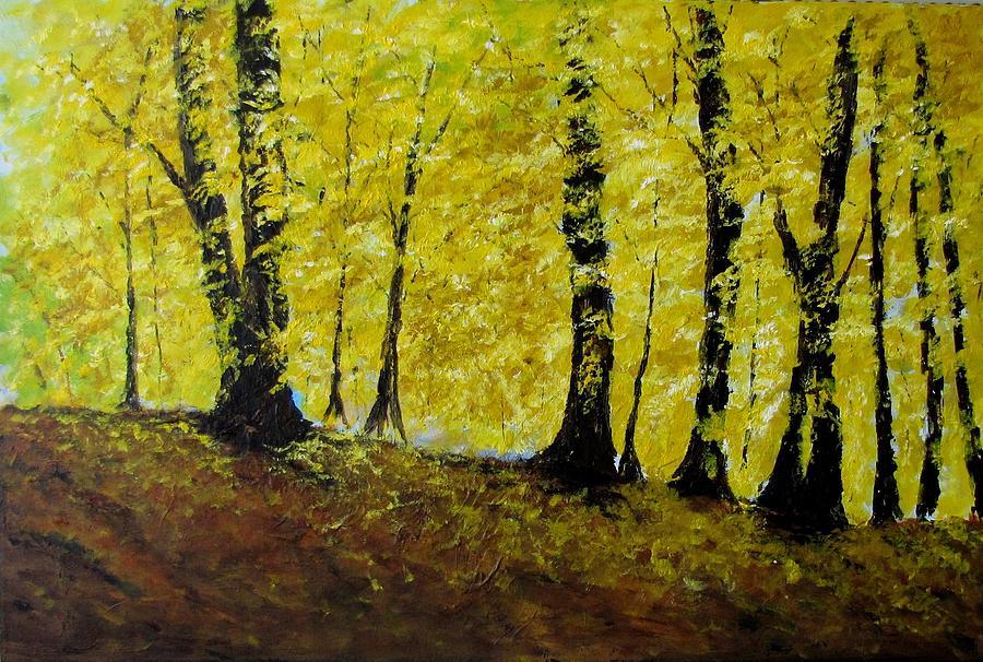 Black Trees Painting - Wind Among Trees by Vicki Conlon