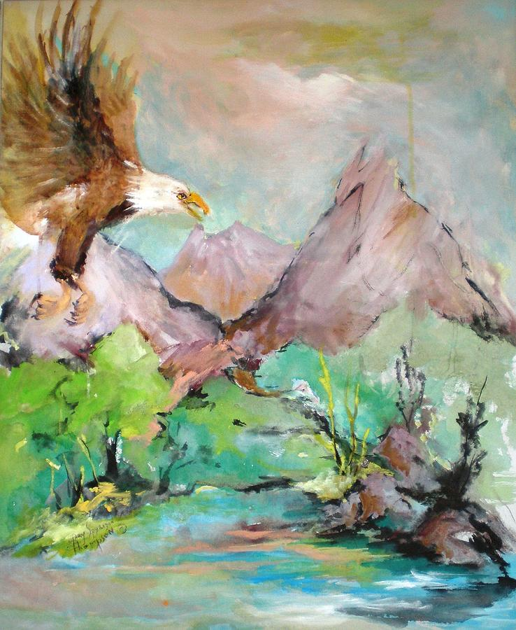 Eagle Painting - Wind Beneath My Wings by Mary Spyridon Thompson