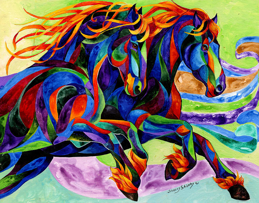 Horse Painting - Wind Dancers by Sherry Shipley