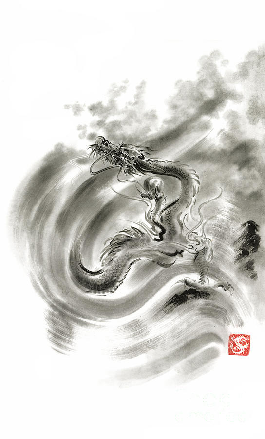 Sumi E Painting - Wind Dragons Sumi-e Ink Painting Dragons Art by Mariusz Szmerdt