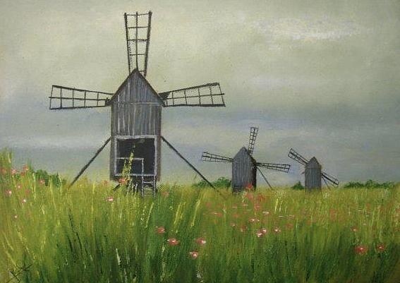 Wind Farm Painting - Wind farm by Rami Besancon