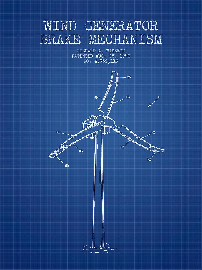 Wind generator break mechanism patent from 1990 blueprint digital wind turbine digital art wind generator break mechanism patent from 1990 blueprint by aged malvernweather Image collections
