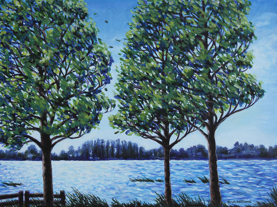 Lake Painting - Wind In The Trees by Penny Birch-Williams