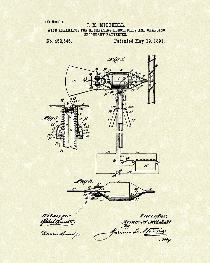 Mitchell Drawing - Wind Mill 1891 Patent Art by Prior Art Design