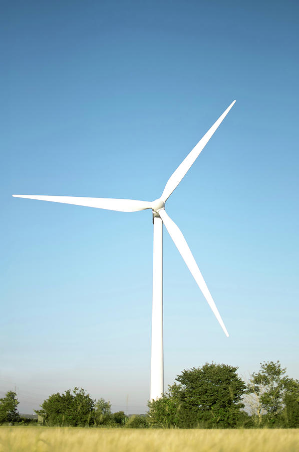 Outdoors Photograph - Wind Turbine And Blue Sky by Jesper Klausen / Science Photo Library