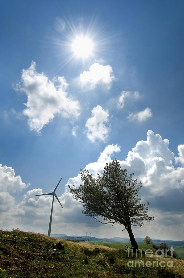 Cloudy Photograph - Wind Turbine  by Bernard Jaubert