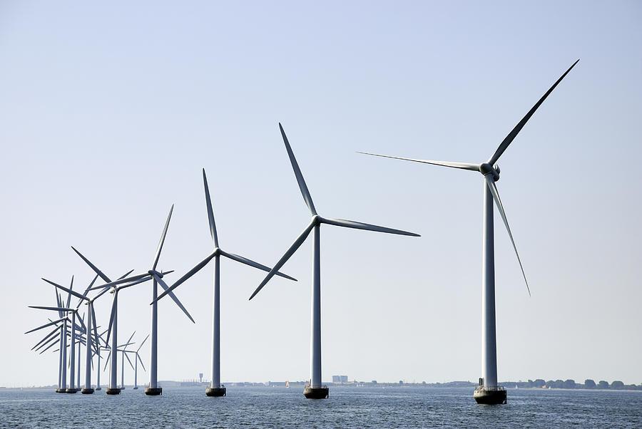 Wind turbines at sea outside Copenhagen, horizontal Photograph by Monap