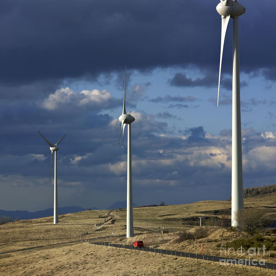 Alternative Photograph - Wind Turbines. Region Auvergne. France by Bernard Jaubert
