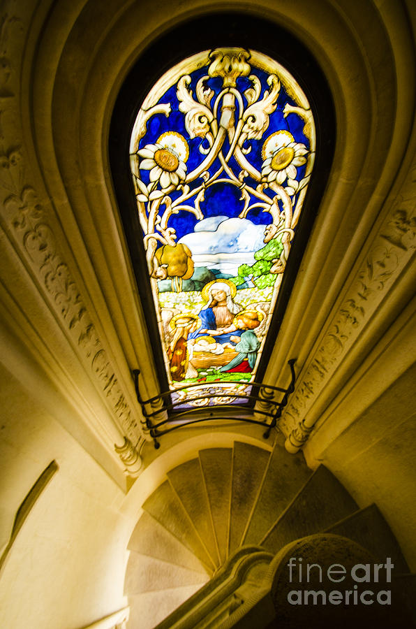 Sintra Photograph - Winding Chapel Stairs And Stained Glass by Deborah Smolinske
