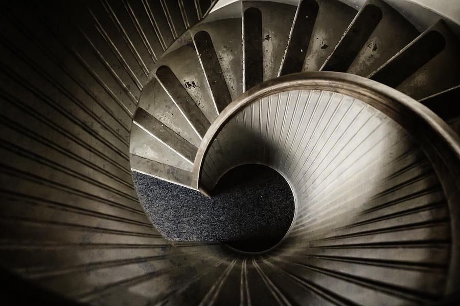 Staircase Photograph - Winding Down by Joan Carroll