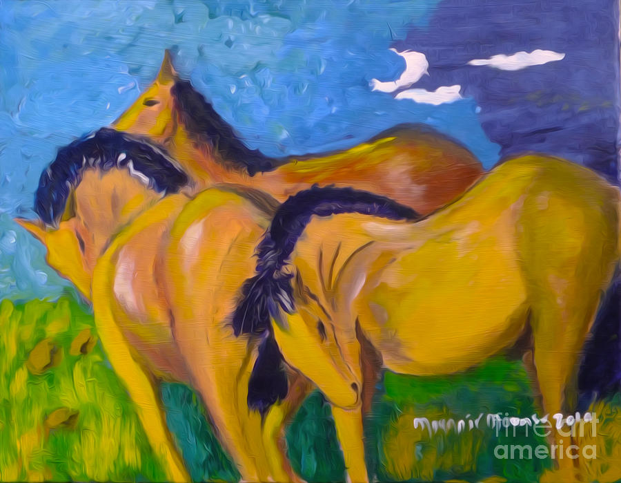 Horses Painting - Winding Down by Mounir Mounir