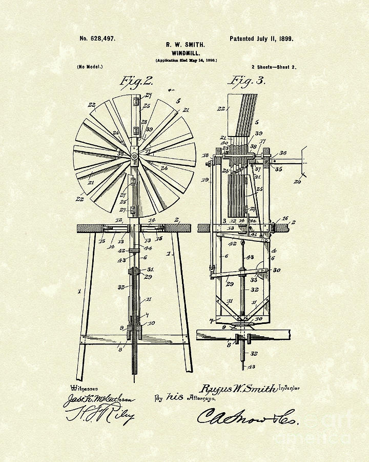 Smith Drawing - Windmill 1899 Patent Art by Prior Art Design