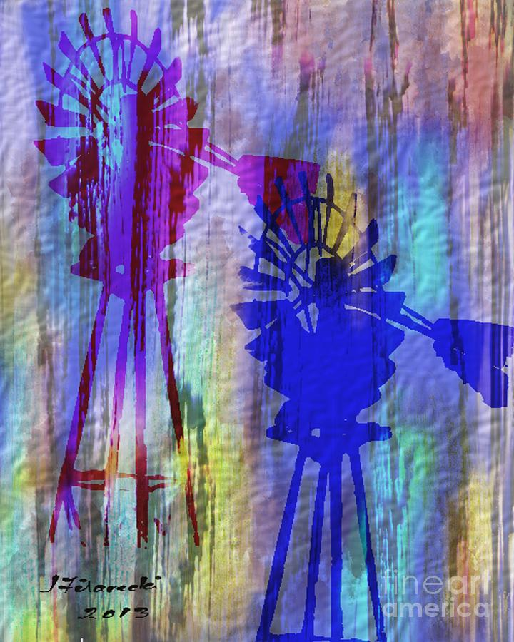 Windmill Painting - Windmill Abstract Painting by Judy Filarecki