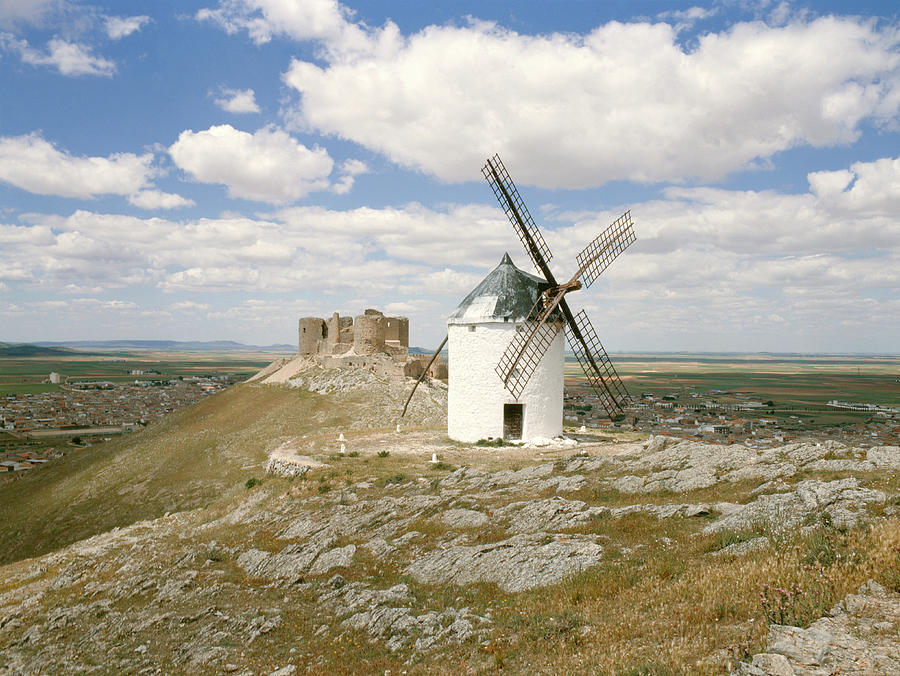Windmill Photograph - Windmill And Castle Ruin by Tony Craddock/science Photo Library