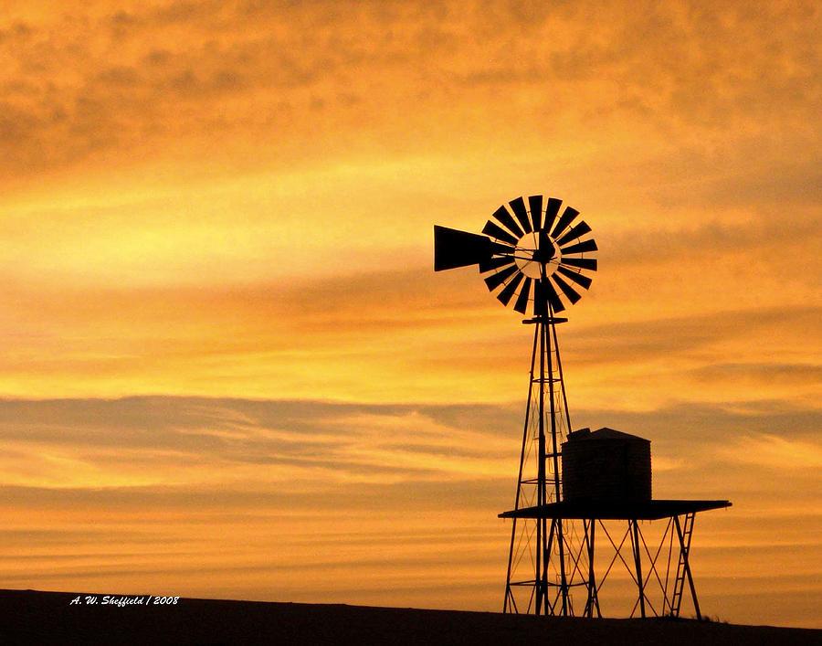 Windmill Photograph - Windmill At Dawn 2008 by Allen Sheffield