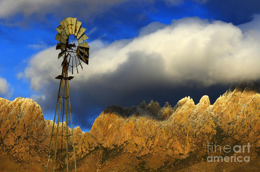 Organ Mountains Photograph - Windmill At The Organ Mountains New Mexico by Bob Christopher