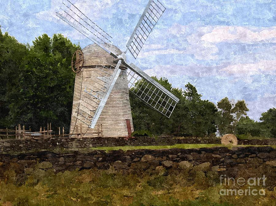 Landscape Digital Art - Windmill by Diane Goulart