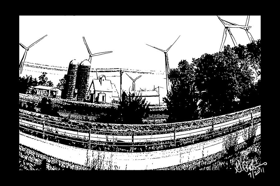 Windmill Drawing - Windmill Farm by Gerry Robins