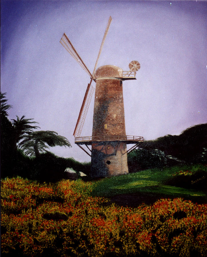 Windmill Painting - Windmill In Golden Gate Park by Alexandra Louie