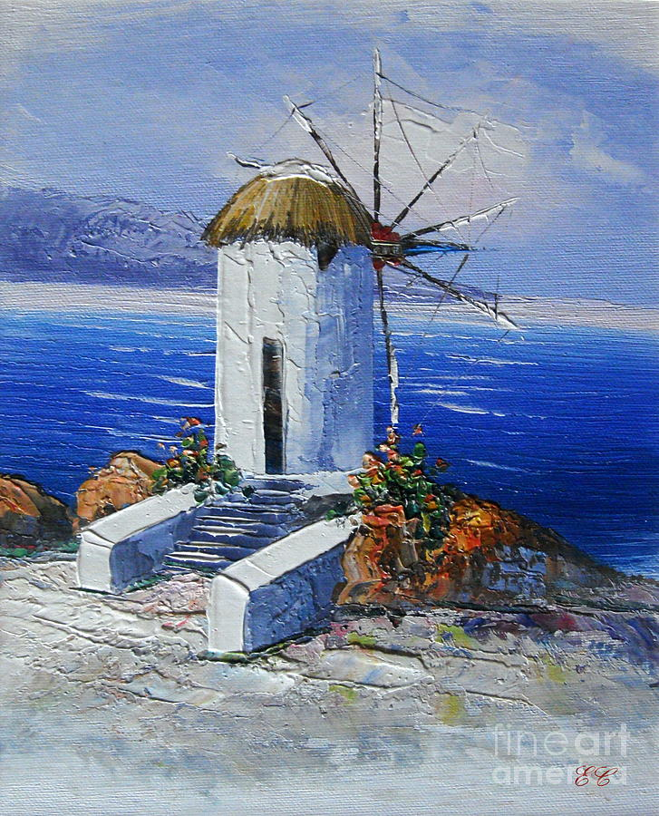 Sea Landscape Painting - Windmill In Greece by Elena  Constantinescu