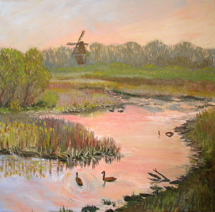 Landscape Painting - Windmill On The Waterfront by Art Nomad Sandra  Hansen