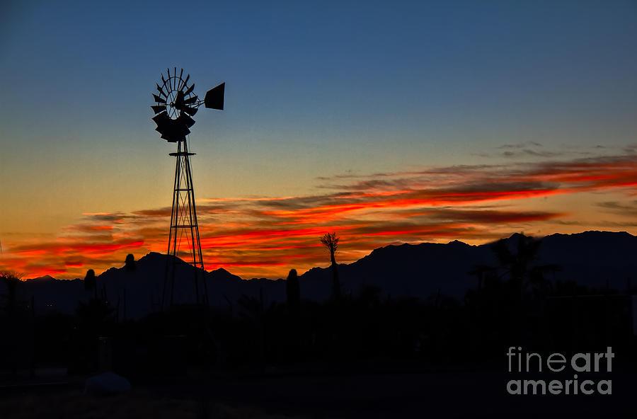 Desert Photograph - Windmill Silhouette by Robert Bales