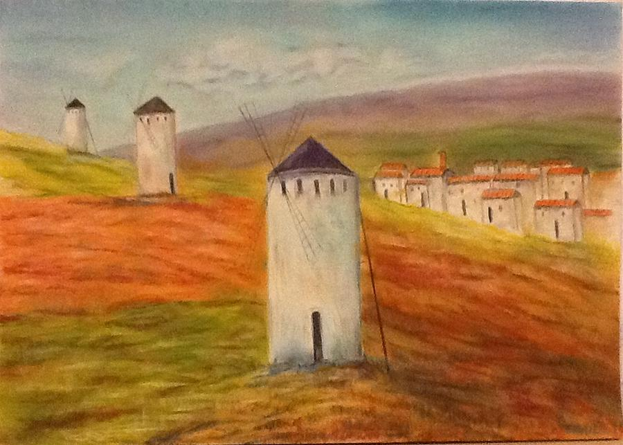 Wubdmills Landscape Orange Netherlands Painting - Windmills In Holland by Nora Vega