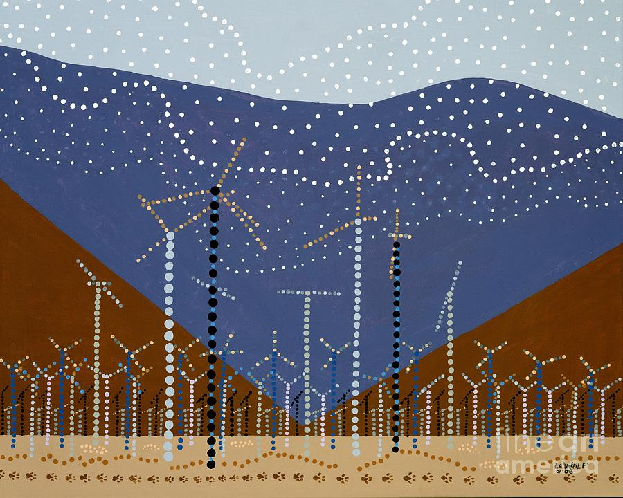 Cathedral City Painting - Windmills Of The Coachella Valley by Linda Wolf