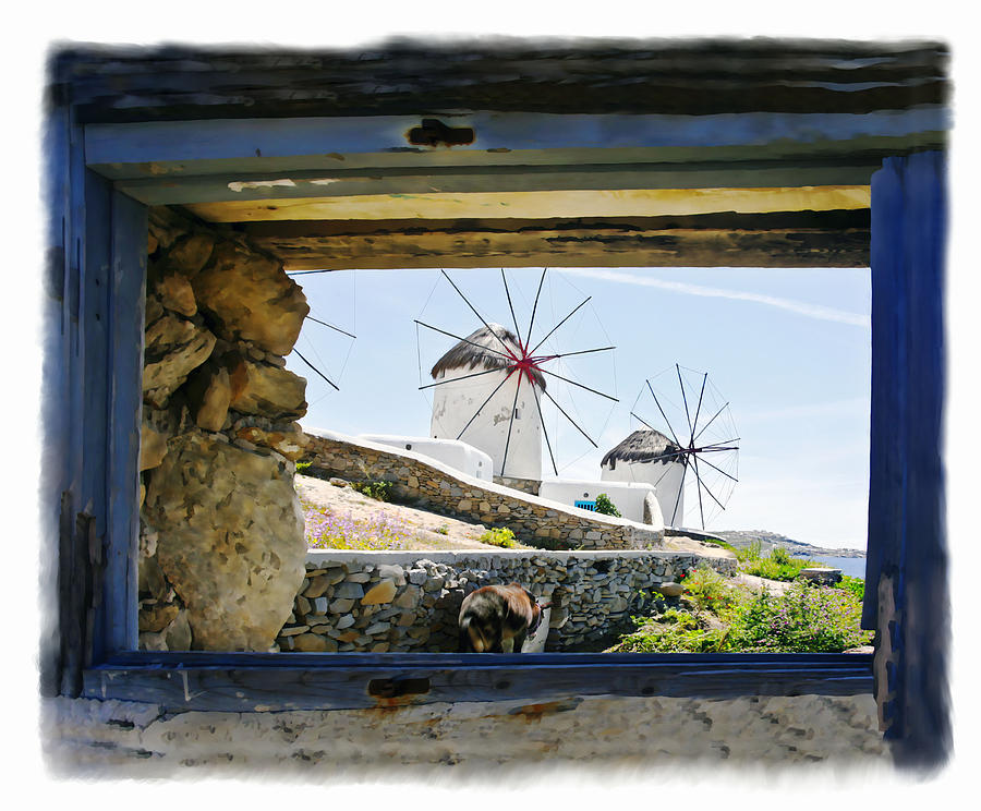 Greece Photograph - Windmills Through The Window by Leanne Vorrias