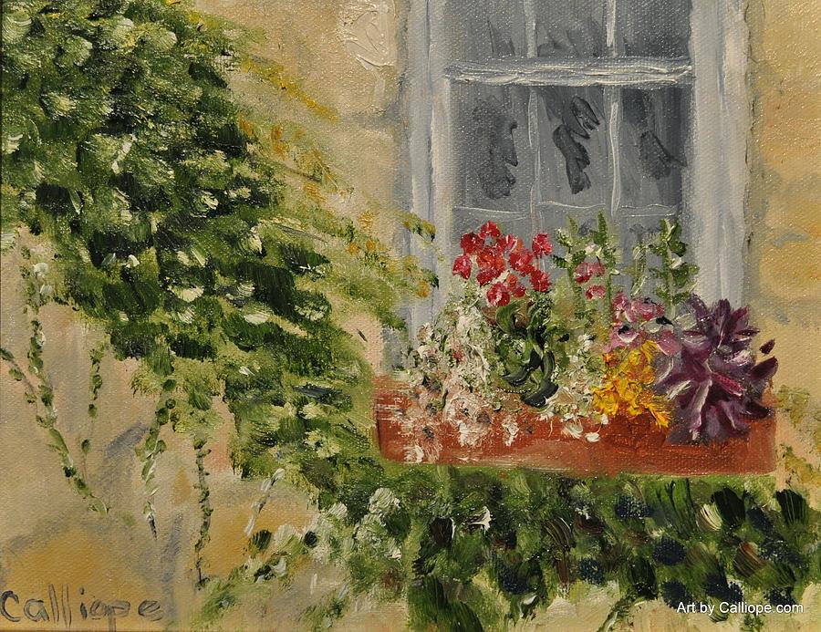 Flowers Painting - Window Box by Calliope Thomas