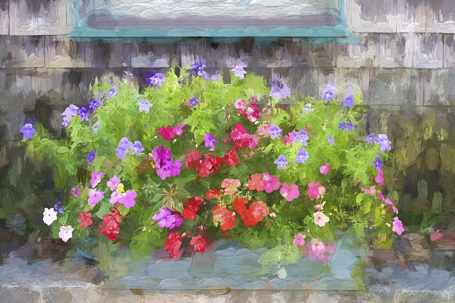 Colorful Photograph - Window Box Painterly Effect by Carol Leigh