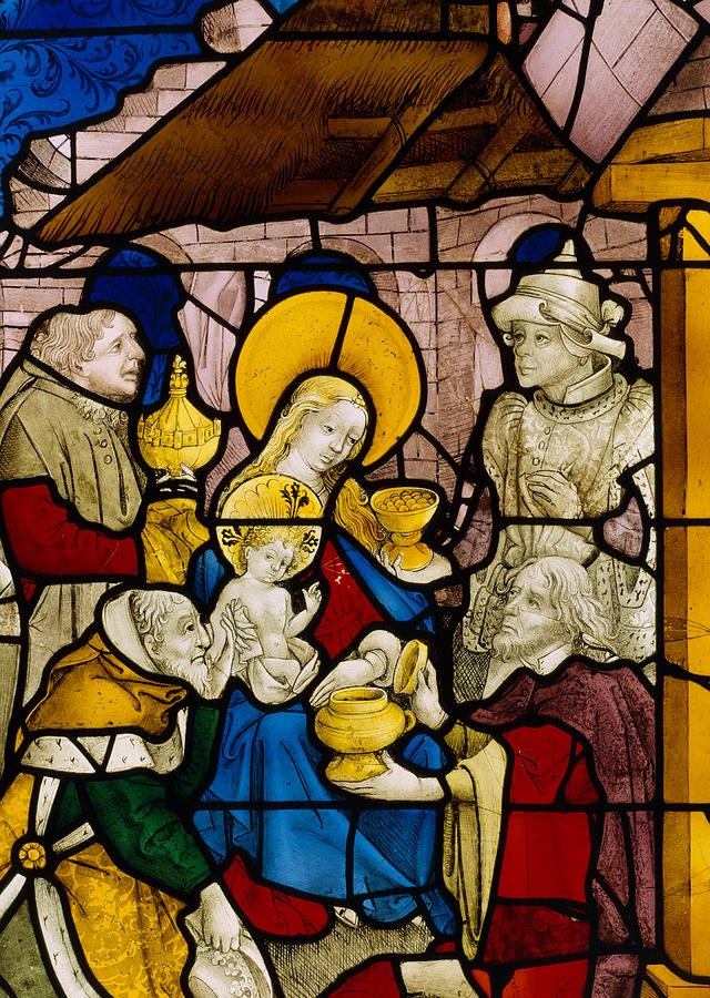 The Nativity Painting - Window Depicting The Adoration Of The Kings by Flemish School